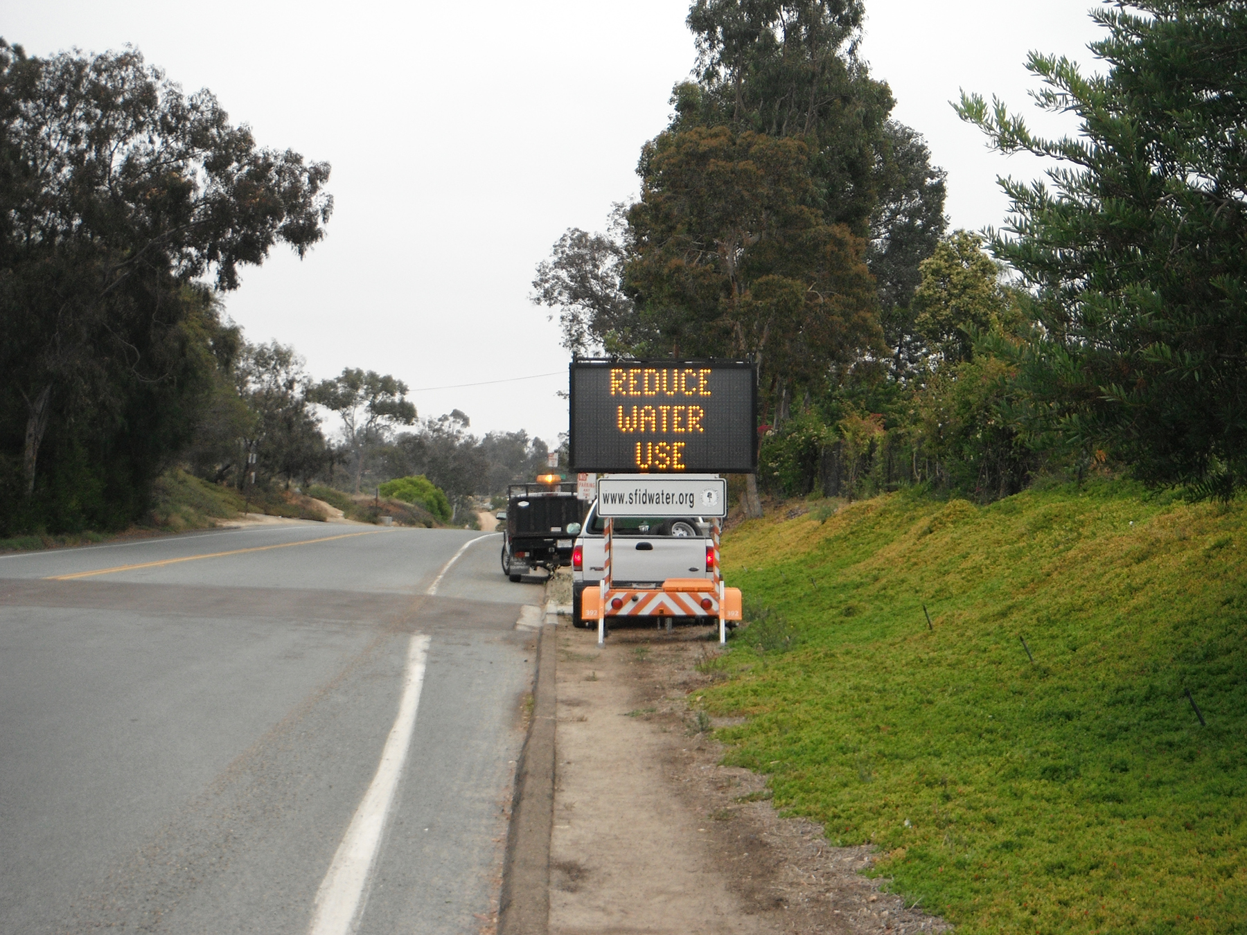 The Santa Fe Irrigation District is placing digital signs around the area, including Rancho Santa Fe, to remind people traveling the roads of the water restrictions. Photo courtesy Santa Fe Irrigation District