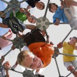 Elementary school students on play structure. Stock photo