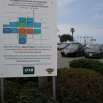 Two free public parking lots are set to close in Oceanside's downtown. A sign directs drivers to parking. Photo by Promise Yee