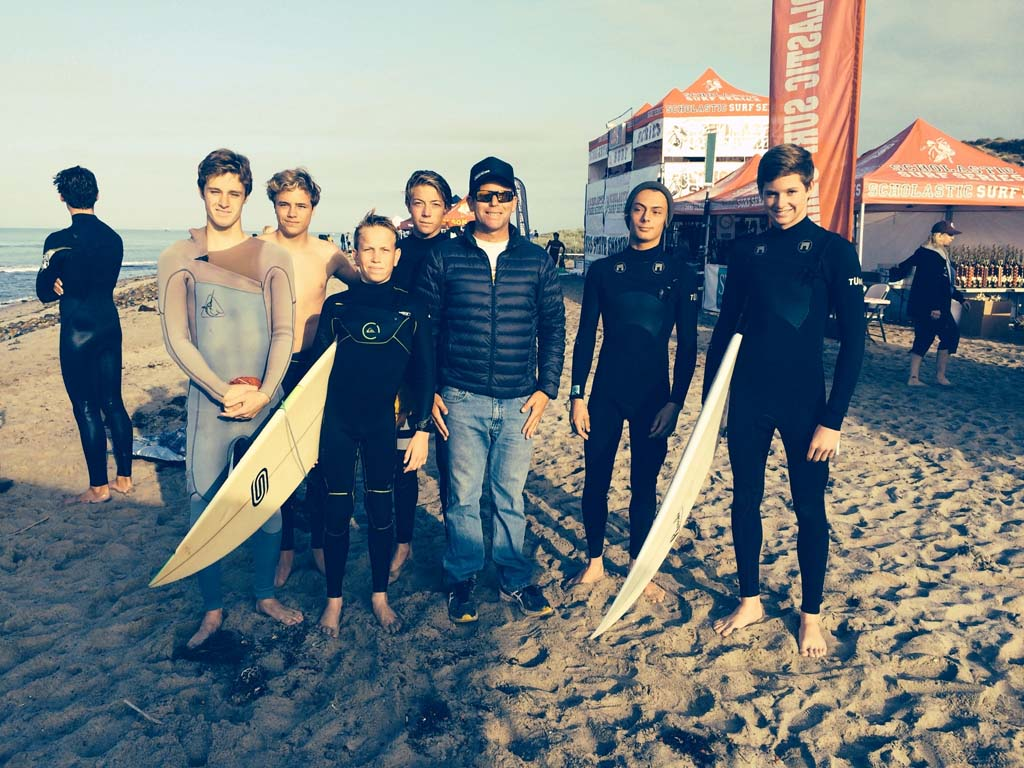 The Canyon Crest Academy boys surf club take first place in short board in Division 2 of the Scholastic Surf Series High School State Championships. Team members include Jason King, Carter Reeves, Andrew Shade, Skylar Tobler, Coach Jesse Sinclair, Shane Berchtold and Kyle McNulty. Courtesy photo