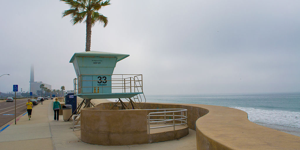 Tower 33 on Carlsbad State Beach, CA, USA. Photo by Visitor7 courtesy of Wikimedia