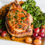 The fabulous Duroc pork chop at Masters Kitchen and Cocktail. Photo courtesy Plain Clarity PR