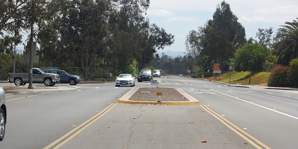 The city's fourth entry sign will soon be added to this median at the intersection of Lomas Santa Fe and Highland drives. Photo by Bianca Kaplanek