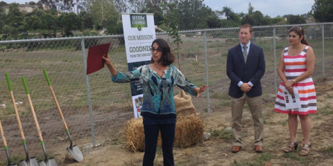 Mim Michelove is the Encinitas Union School District's new farm lab director. On Wednesday she accepted a $10,000 grant from Seeds of Change. Photo by Aaron Burgin