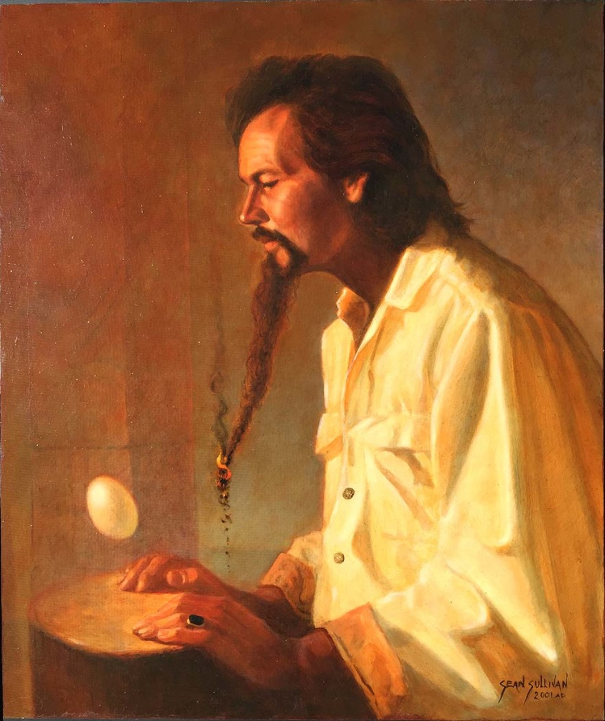 """Oil portrait of db Foster, painted by Sean Sullivan in 2001, depicts Foster during his """"bohemian hermit artist"""" years"""