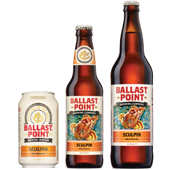 Sculpin IPA (India Pale Ale) is Ballast Point's best selling craft beer and comes in three formats. Image courtesy Ballast Point
