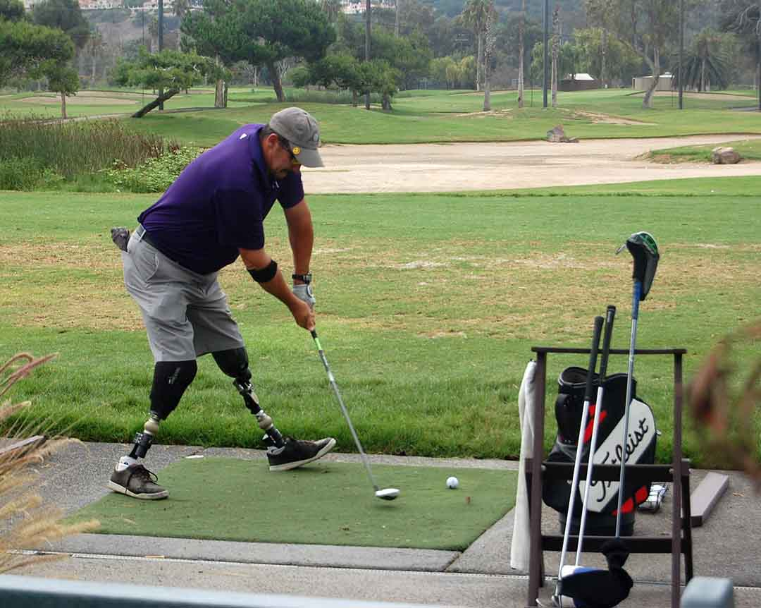 Army Sgt. 1st Class Jacque Keeslar warms up on the driving range before the 2015 Operation Game On Golf Classic. Registration is ongoing for this year's event Aug. 15 at Fairbanks Ranch Country Club. File photo by Bianca Kaplanek