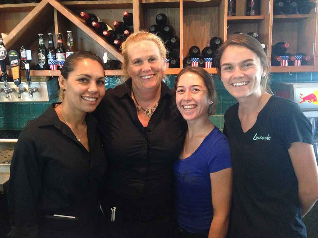 Part of the Leucadia Pizza crew from left: Julie McDaniel, Devon McFerran, Summer Loredo and Sydney Hulsey. Photo by David Boylan
