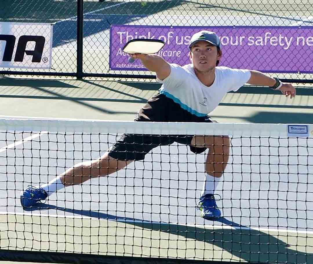 Pickleball is a combination of tennis, badminton and Ping-Pong. It's played with a net, a solid paddle and plastic Wiffle ball on a court about one quarter the size of a tennis court. Courtesy photo