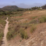 """This trail in Calavera Preserve (110 acres) eventually takes hikers to the top of 513-feet-high Mount Calavera, seen in the background. The formation is not really a mountain but a 15- to 20-million-year-old volcanic plug. A dramatic cliff on one side, which can be seen from the trail, is the remnant of gravel mining in the early 1900s. The word Calavera is Spanish for """"skull. Photos by E'Louise Ondash"""