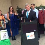 """""""Look what happens when a family owned business and its customers want to make a difference,"""" said San Diego County Supervisor Dave Roberts during a clothing collection event benefitting the CRC. Photo by Aaron Burgin"""