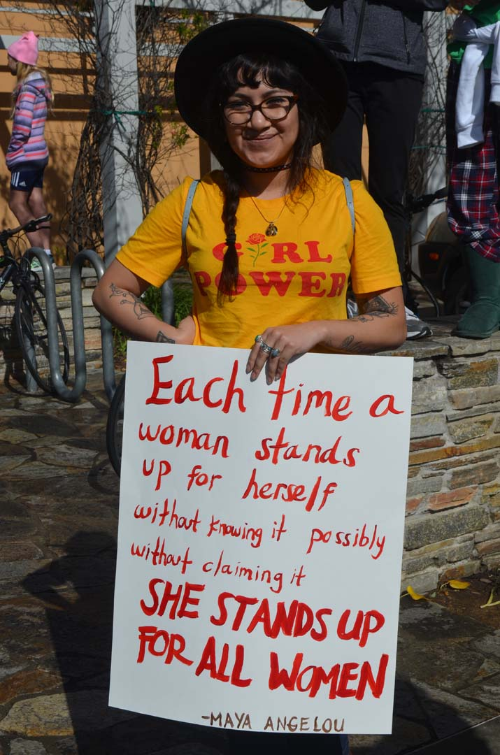 "Briana Munoz marches in solidarity with her ""sisters"" on Jan. 22. Photo by Tony Cagala"