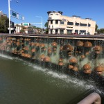 Created by artist Bob Adams, this water feature, known as Copper Falls, appears on the face of a bridge in Downtown Scottsdale. It's not only visually beautiful, but acoustically appealing, too. Soothing, musical sounds emanate from the sculpture as the water trips over the copper domes.