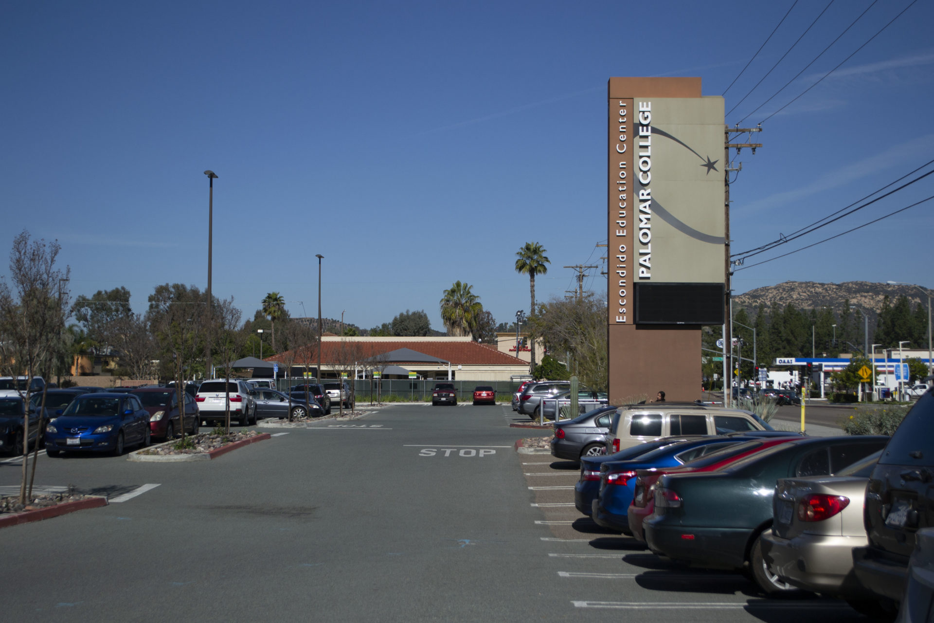 Palomar College Escondido Education Center library parking lot view