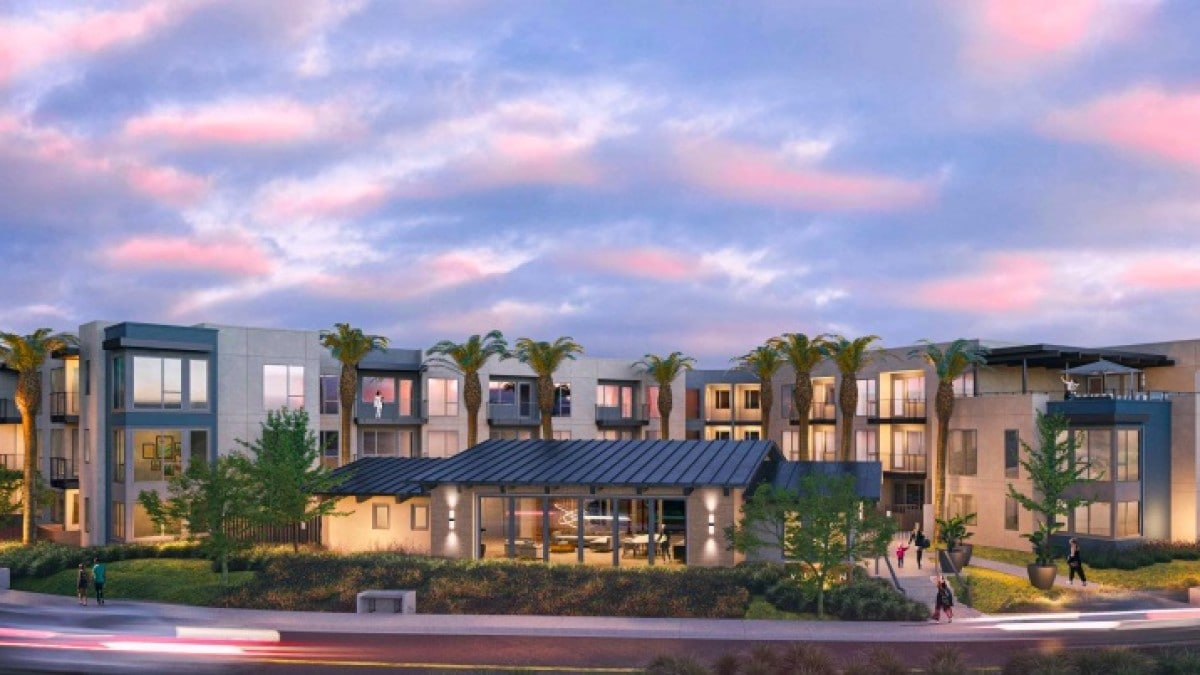 A rendering of a proposed apartment complex on Vulcan Avenue in Encinitas. Courtesy rendering