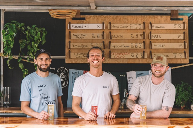 Founders of Kové Hard Yerba Mate are (from left) Alex Montelbano, CEO, Ryder England, CCO, and Josh Makler, COO.