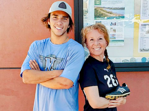 Carmel Valley's Brandi Mitchell, 45, right, is playing soccer on the women's team at San Diego Miramar College. Her son, Maverick Mitchell, 18, is on the school's water polo squad. Courtesy photo