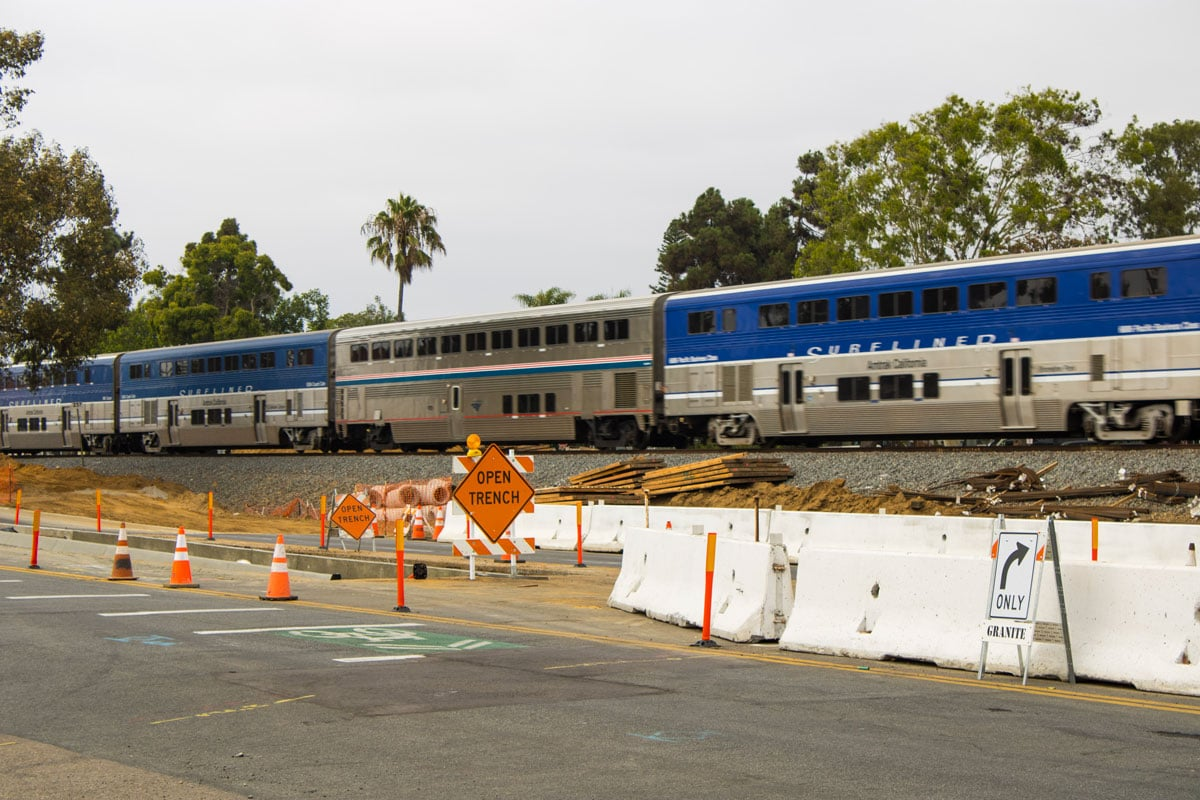 Construction on the remaining parts of the Leucadia Streetscape project will continue into next year. Photo by Bill Slane