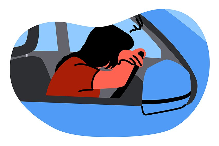 Mental stress, frustration, depression, fatigue, sleep concept. Young unhappy depressed stressful frustrated woman driver character sleeping on steering wheel. Annoyance about stucking in car traffic.