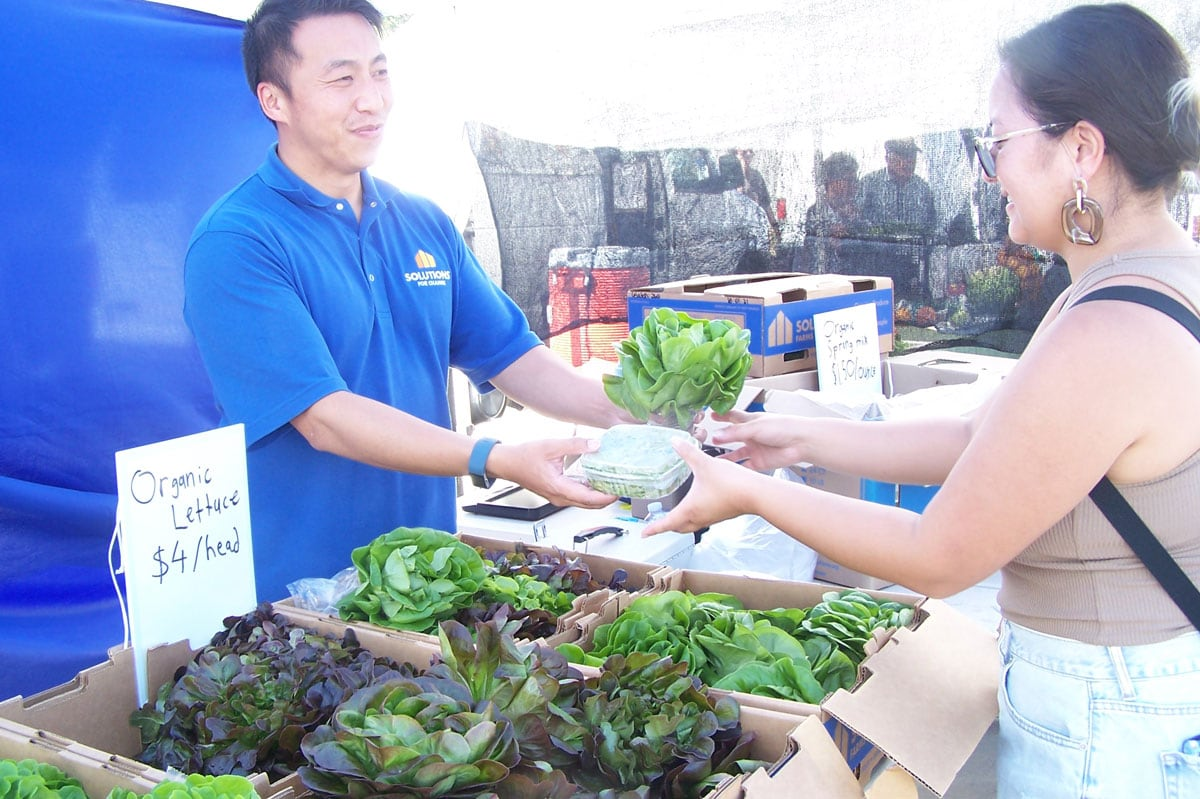 Corinne and Ly King offer fresh greens from Solutions for Change, the group's hydroponic farm in Vista. Photo by Jano Nightingale