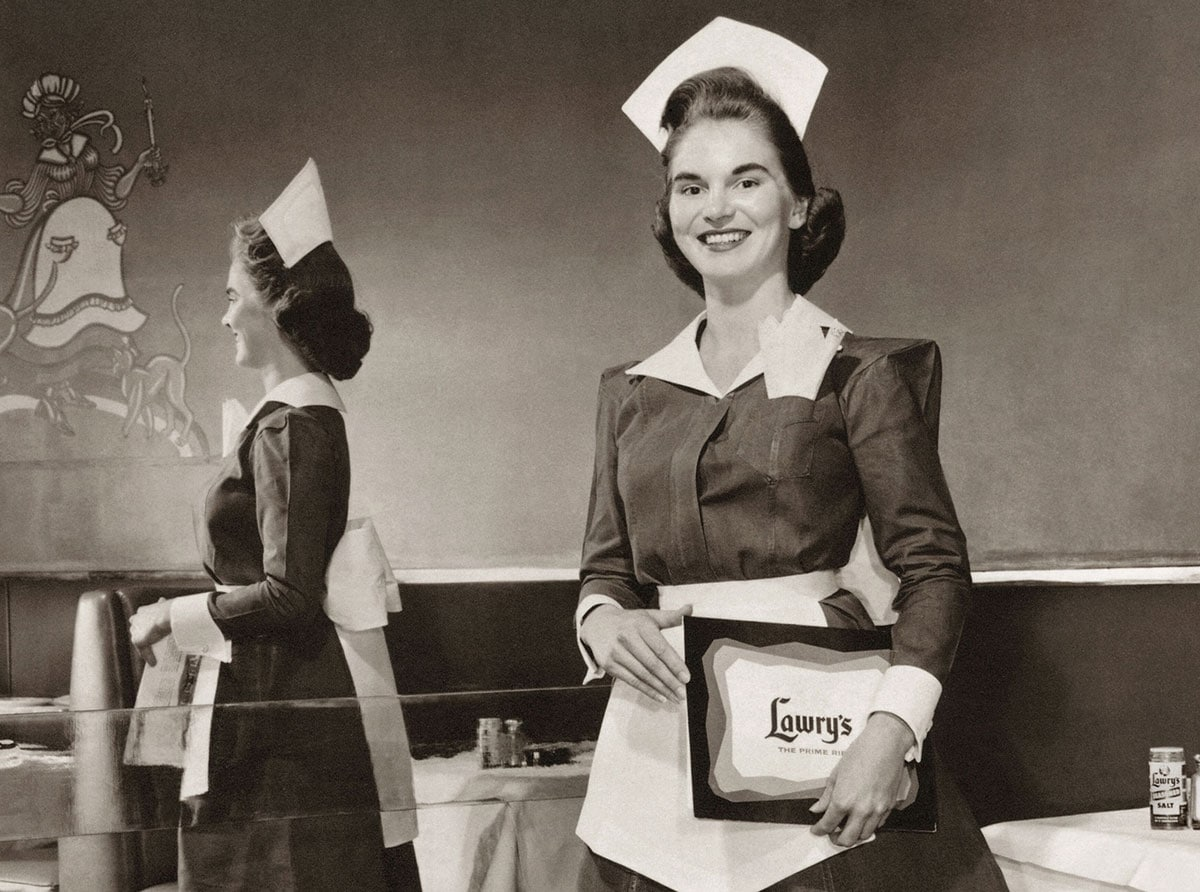 Lawry's Restaurant, founded in 1938 in Beverly Hills, had servers dressed not unlike nurses. Their uniforms actually took inspiration from the Harvey House chain. The current-day eating experience includes prime rib served in huge Airstream-like serving carts and elaborate meat-carving shows put on by carvers who train for six months. Courtesy photo