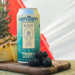 """""""Hoppy Troppy"""" is a collaboration between Kové Hard Yerba Mate and Thorn Brewing, featuring hard yerba mate and hops."""