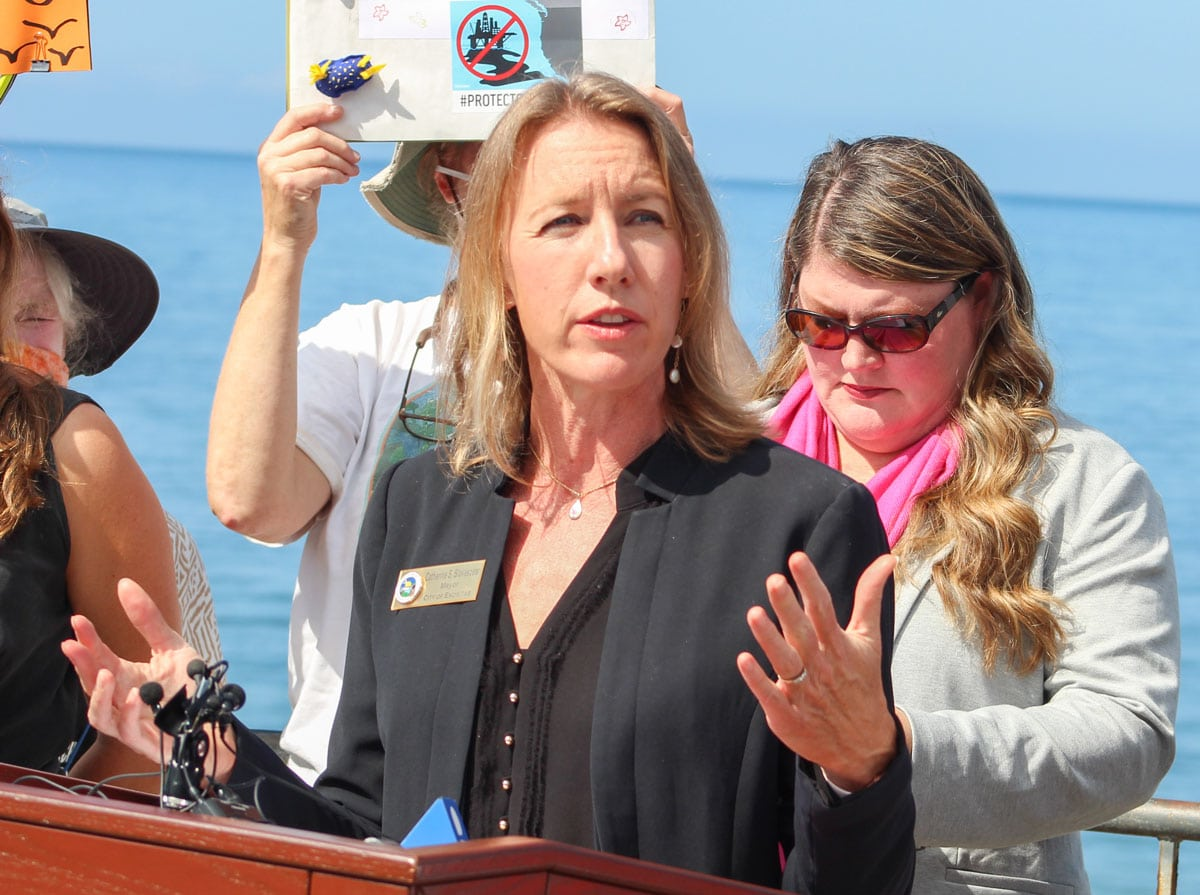 Mayor Catherine Blakespear speaks during Tuesday's press conference in Encinitas. Photo by Bill Slane