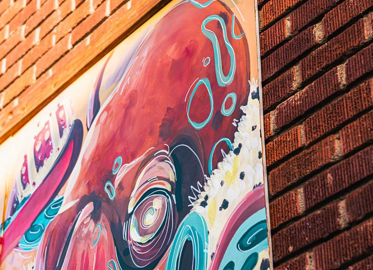 """A picture of artist Maya Sorvala's """"King Octopus,"""" one of several murals featured by the Esco Alley Art project in Escondido. Photo via Facebook/Esco Alley Art Project"""