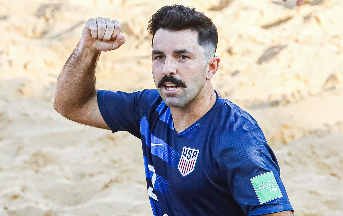 UC San Diego alumnus Alessandro Canale scored two goals for the United States in its 9-4 loss to Paraguay during Monday's final match at the 2021 FIFA Beach Soccer World Cup in Moscow, Russia. Photo via Facebook/FIFA