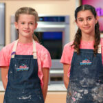 """Ellie Joyce, left, and Ella Traverso, both of Carlsbad, appeared on the Aug. 20 episode of """"Disney's Magic Bake-Off."""" The baking team baked a cake inspired by Disneyland theme park rides. Courtesy Aaron Epstein/Disney"""