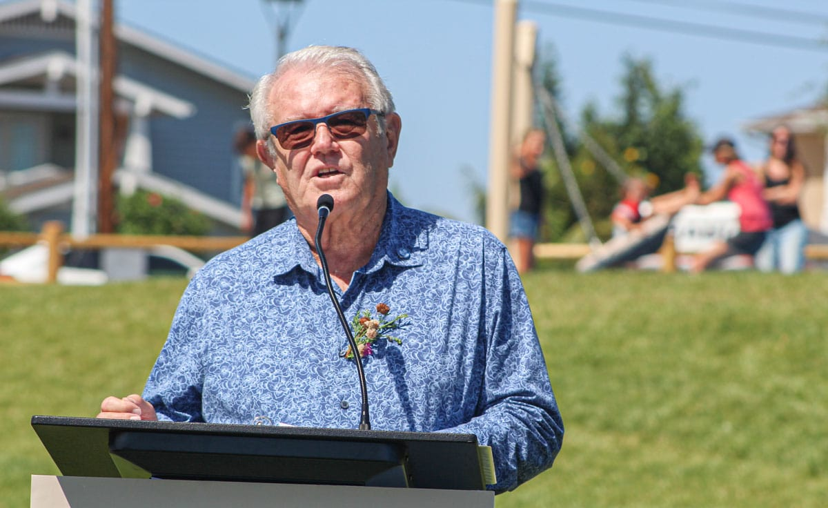 Mayor Matt Hall speaks during the official opening of the Buena Vista Reservoir Park on Aug. 27. The 3.1-acre park is the final piece in the Poinsettia 61 project, which also included 123 residences off Poinsettia Avenue. Photo by Steve Puterski