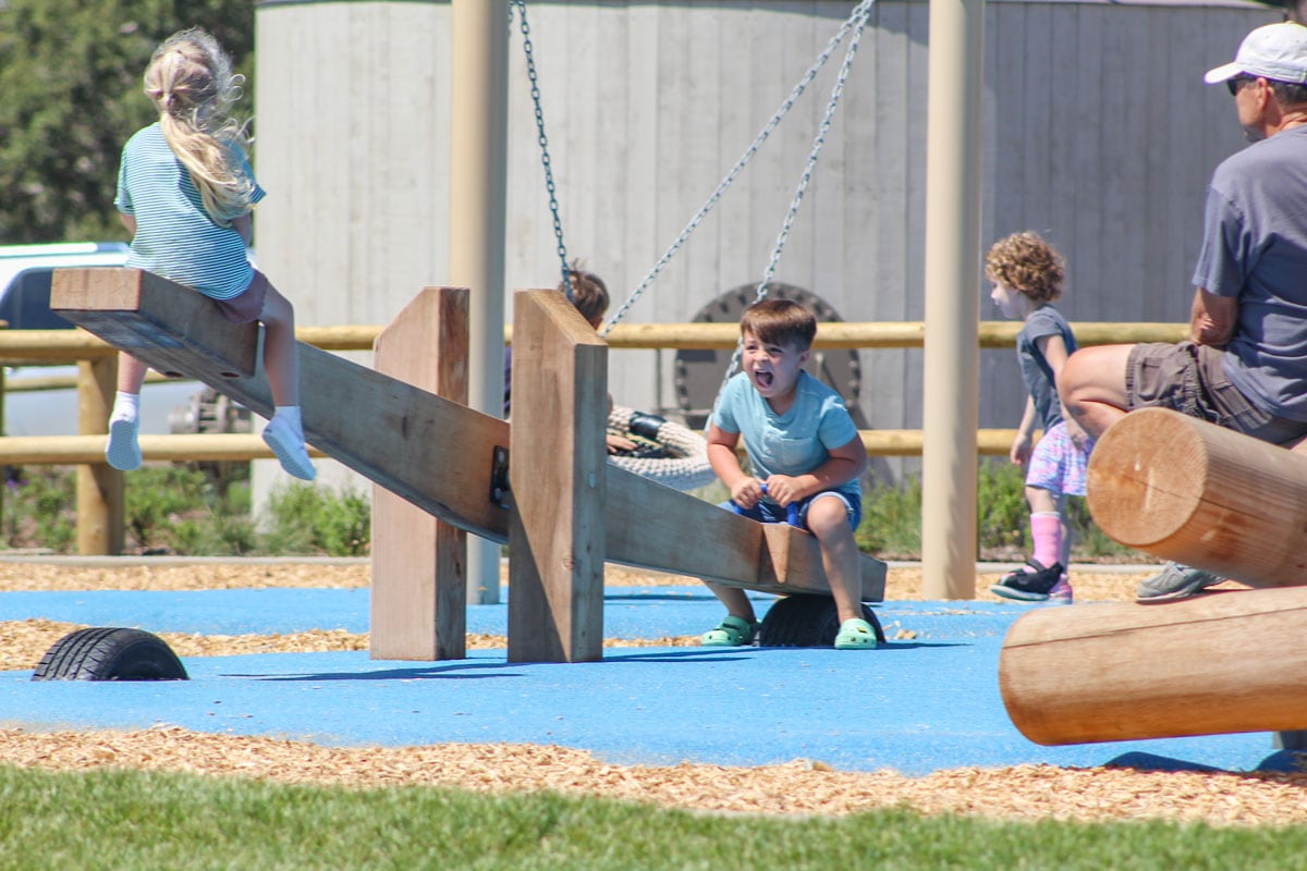 Kids play on a teeter-totter and swing at the playground of the new Buena Vista Reservoir Park in Carlsbad. City officials unveiled the park on Aug. 27. Photo by Steve Puterski