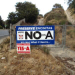 Competing Prop A signs along Encinitas Boulevard in 2013. Photo courtesy of Bruce Ehlers