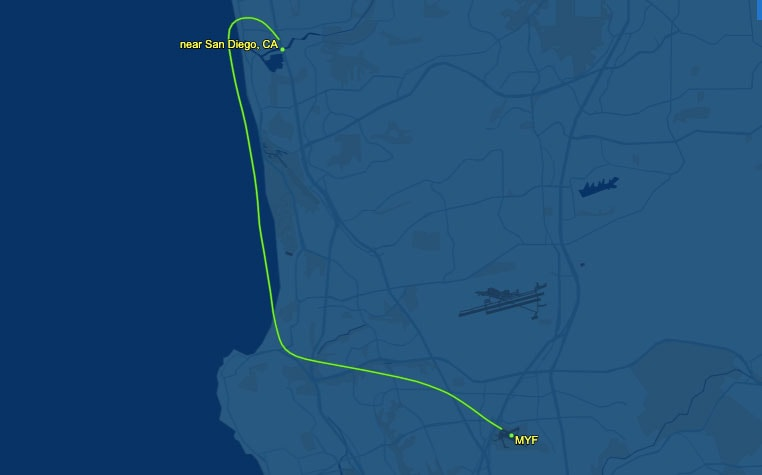 The flight path of a small Piper Cherokee aircraft on Tuesday at Montgomery-Gibbs Executive Airport in San Diego. Courtesy photo