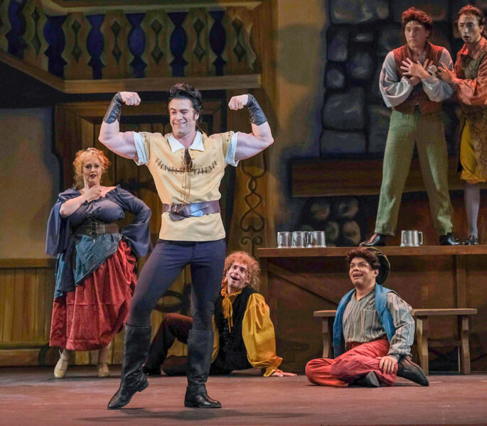 """Evan White plays the self-centered, chauvinistic, clueless Gaston with a humor and finesse that makes audiences laugh and want more. """"Beauty and the Beast"""" plays through Aug. 7 at the Moonlight Amphitheatre in Vista."""
