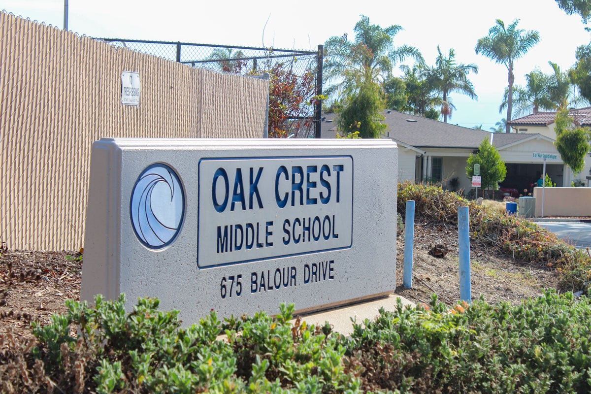 Oak Crest Middle School is located on Balour Drive in Encinitas, directly across the street from the proposed relocation site for the city's homeless parking lot. Photo by Bill Slane