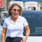 San Marcos Mayor Rebecca Jones talks about the city's first Tesla supercharging station on Aug. 17 at the Creekside Marketplace on San Marcos Boulevard near state Route 78. Photo by Steve Puterski