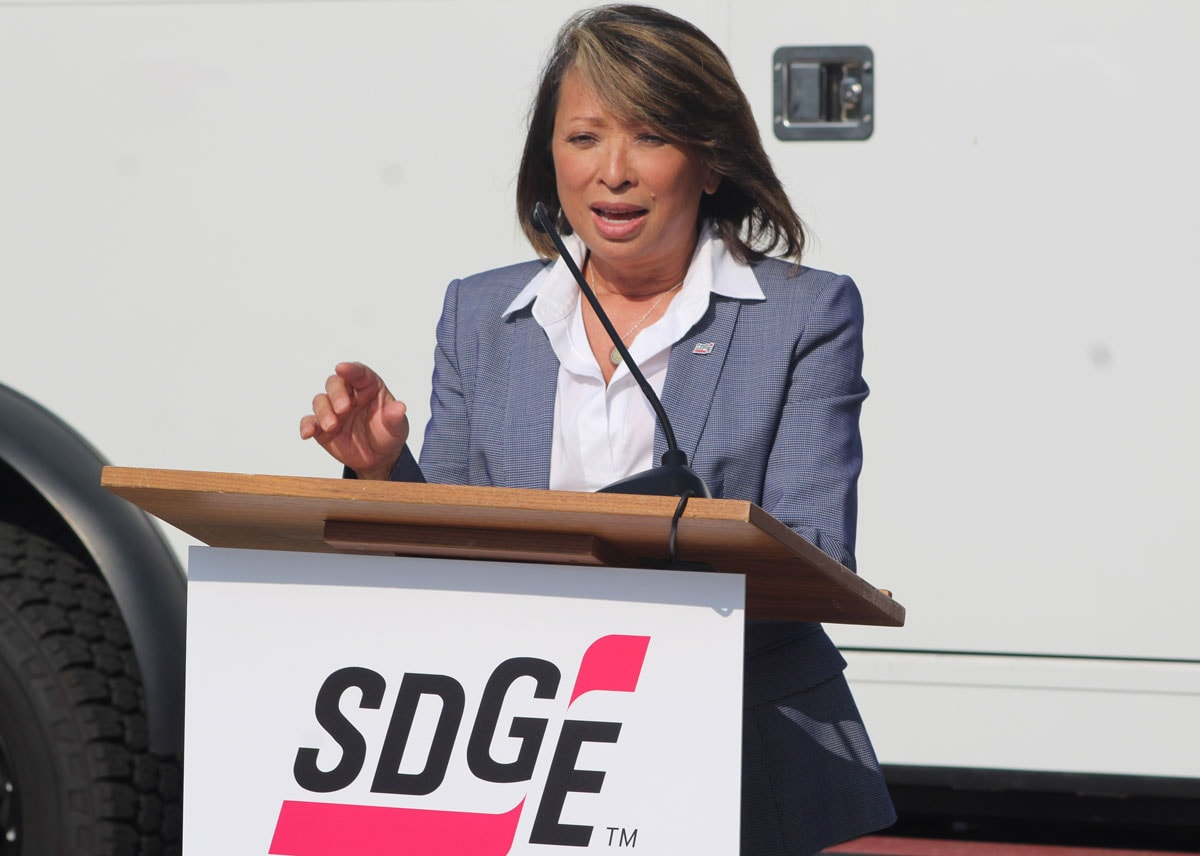 SDG&E CEO Caroline Winn speaks during Tuesday's event at the utility's headquarters in San Diego. Photo by Steve Puterski