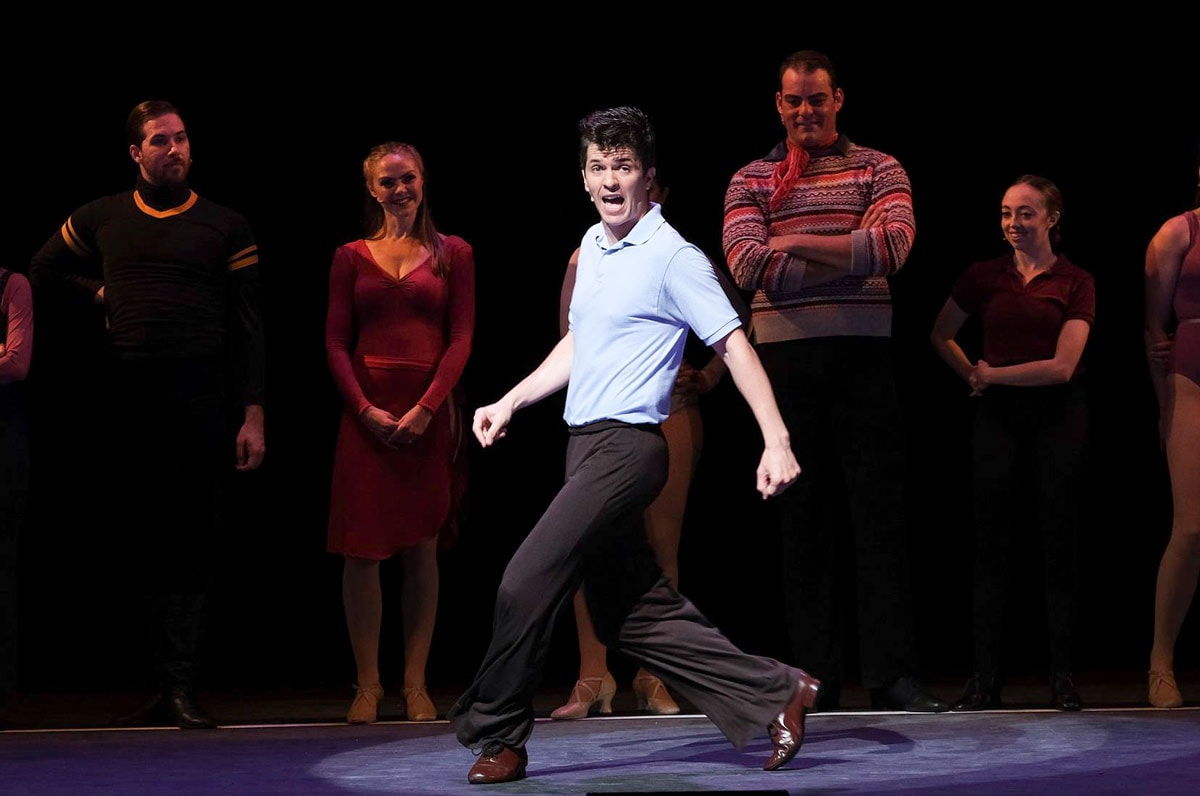 """Actor Jeffrey Scott Parsons plays character Mike Costa, an Italian who learned to tap dance at a young age in Moonlight Amphitheatre's production of """"A Chorus Line."""" Photo by Ken Jacques Photography"""