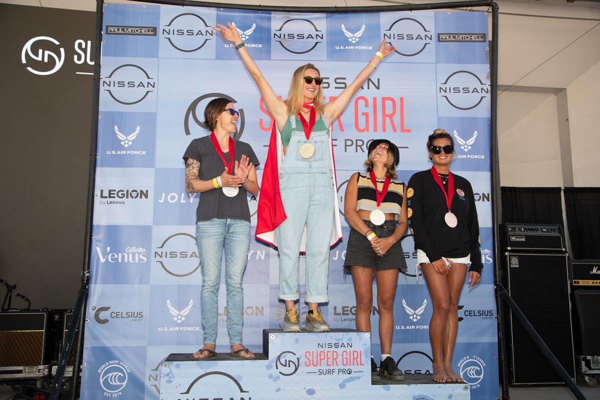 Hawaii's Kirra Seale won the longboard competition at the 14th annual Supergirl Surf Pro competition this weekend in Oceanside. Photo by Kurt Steinmetz