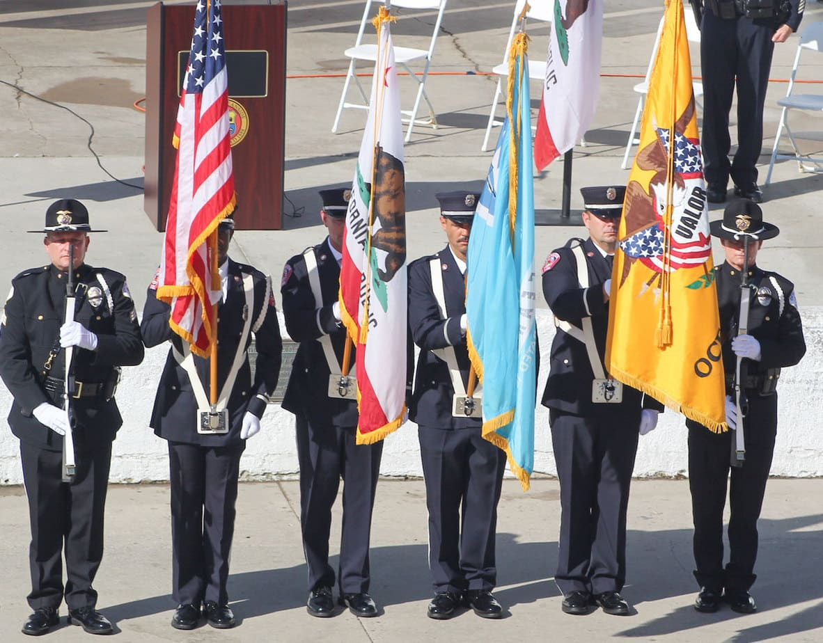 The Oceanside Color Guard presents the colors to start a 9/11 remembrance event at the Junior Seau Amphitheater in Oceanside. Photo by Steve Puterski
