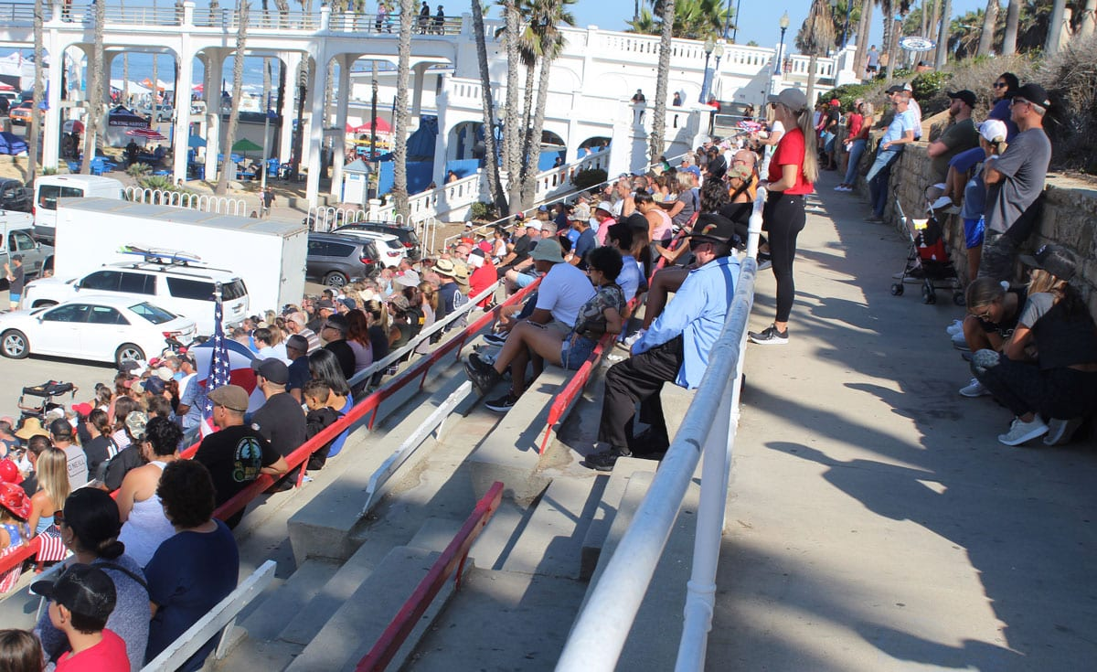 Hundreds of people watch several speakers during a 9/11 20th anniversary event at the Junior Seau Amphitheater in Oceanside. Photo by Steve Puterski