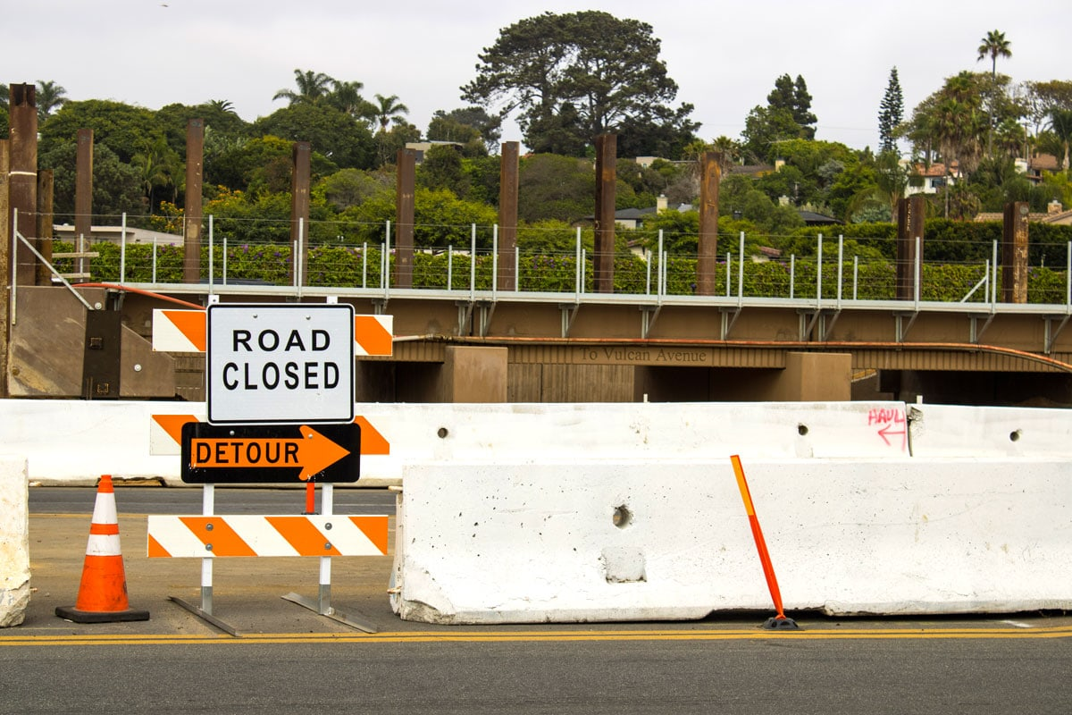 The structure of the new pedestrian underpass at El Portal Street along the Coast Highway in Leucadia. Construction windows in October will bring the underpass close to completion. Photo by Bill Slane