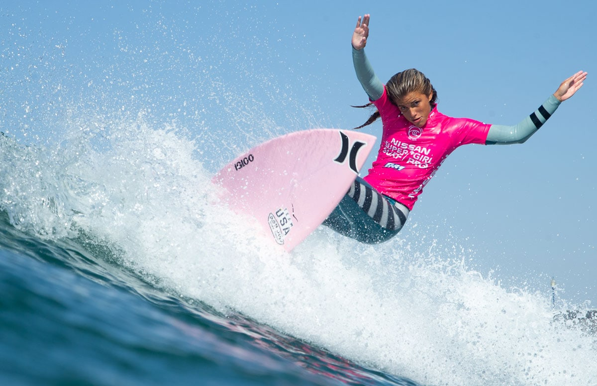 Zoe Benedetto competes at the 2019 Nissan Super Girl Surf Pro. Photo by Kurt Steinmetz