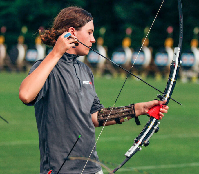 Luca Pierpan Tatro readies his bow during the USA Archery's JOAD Target Nationals earlier this month in Alabama