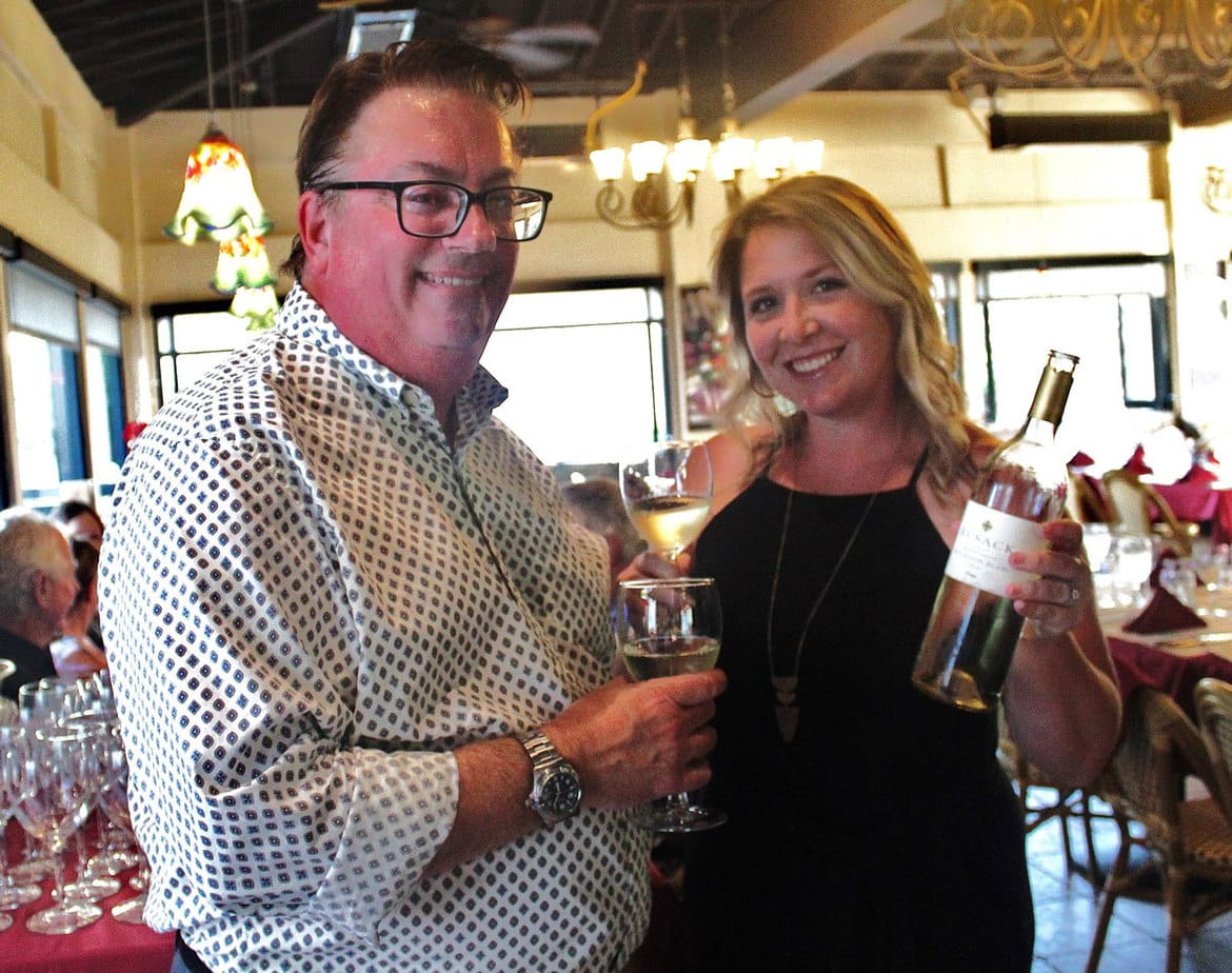 James Kern of Classic Wines led a recent  wine dinner at Vittorio's in Carmel Valley. Kern is standing next to Katie Diefenthaler, Rusack's sales and marketing manager. Courtesy photo